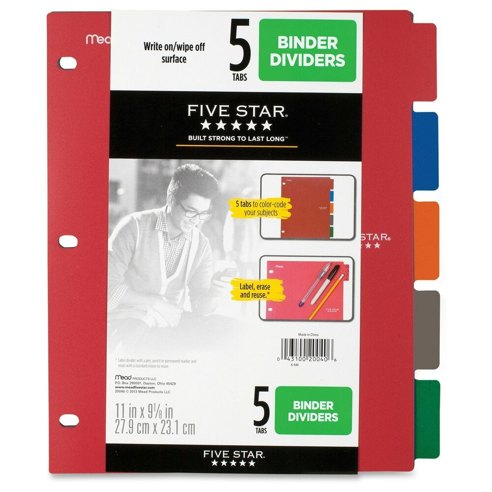 Five Star Multicolor 5-tab Binder Dividers