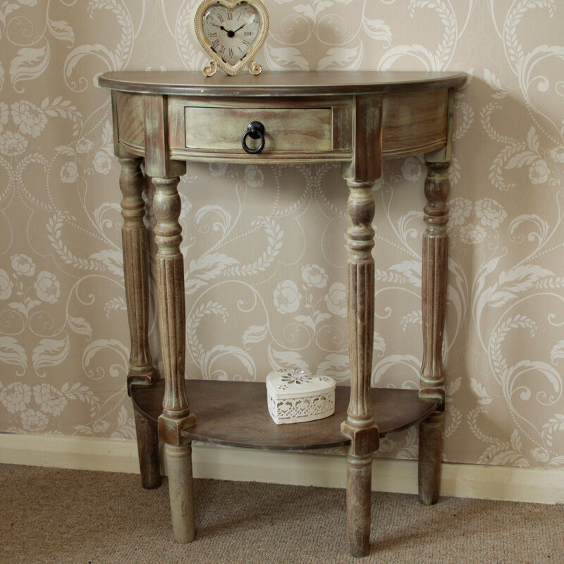 Brown Wooden Half Moon Console Table Hall Table Vintage