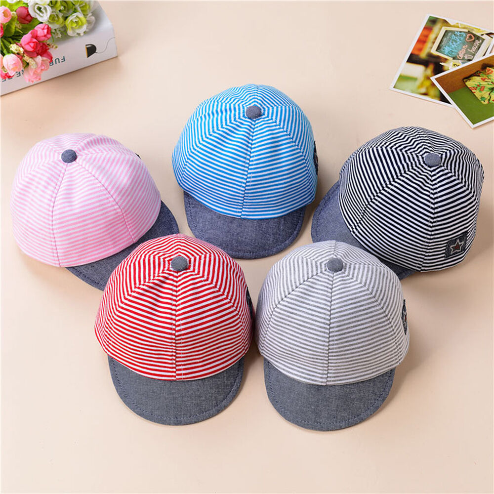 Details about Baby Boys Girls Toddler Summer Cotton Hats Striped Baseball  Cap Beret Sun Hat 4117ab925416