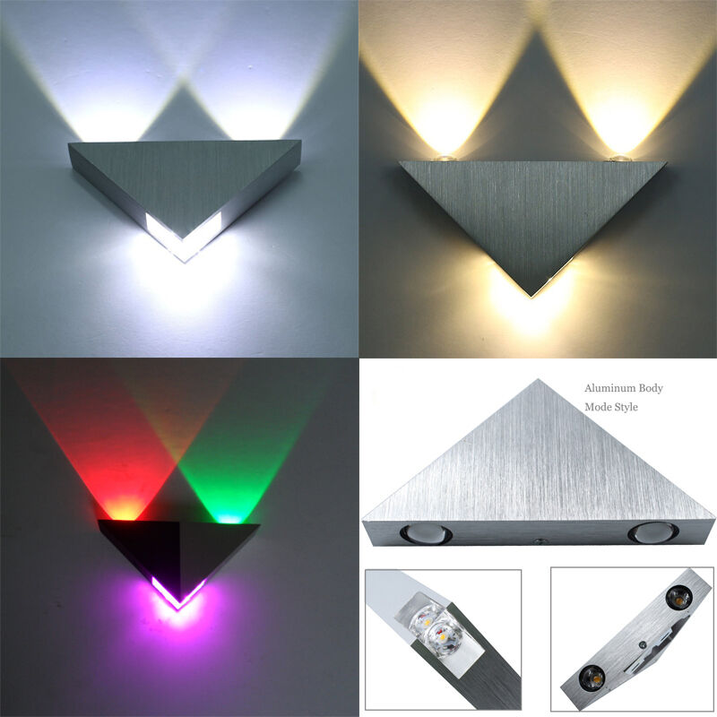 Diy Wall Light Fixtures: Triangle LED Wall Sconces Light Fixture Bedroom Porch