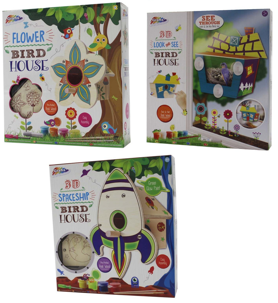 Childrens make paint your own bird house 3d nest box for Make your own house 3d