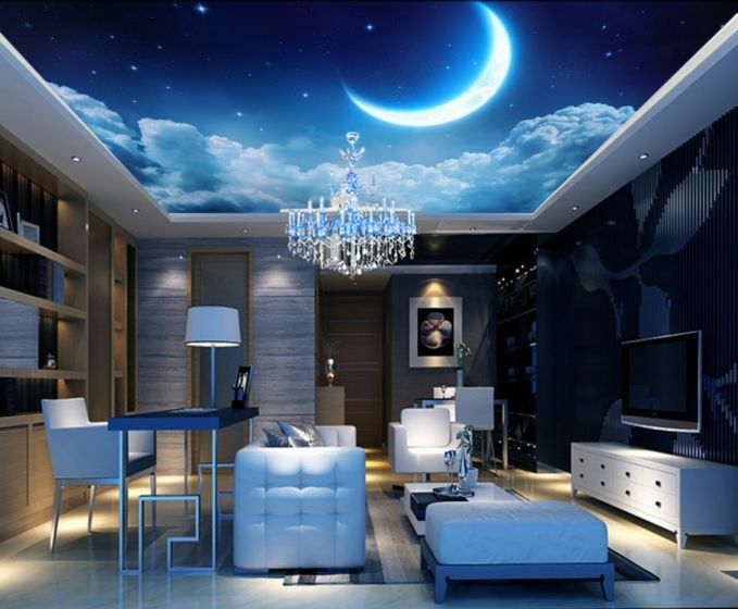 3d Moon Night Sky Ceiling Wallpaper Murals Wall Print