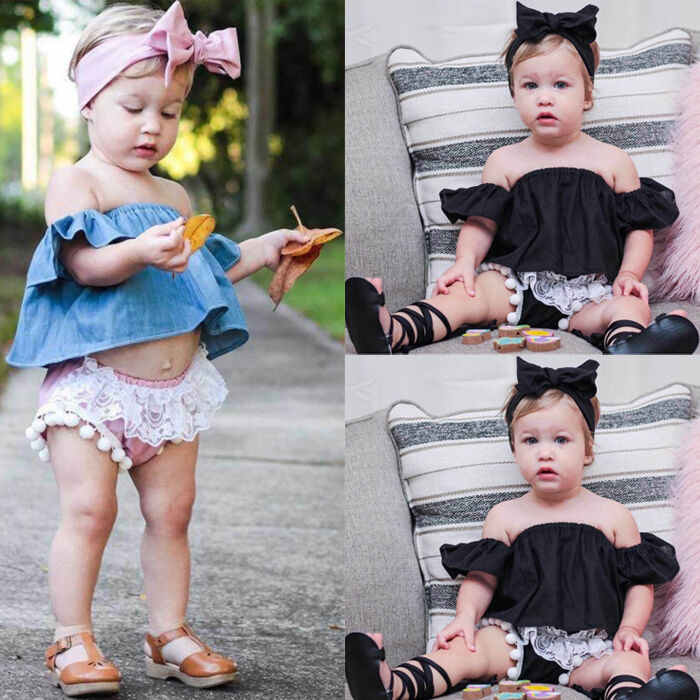 63abfeaedf3e1 Details about 3PCS Toddler Newborn Baby Girl Off Shoulder Tops+Shorts  Pants+Headband Outfit US