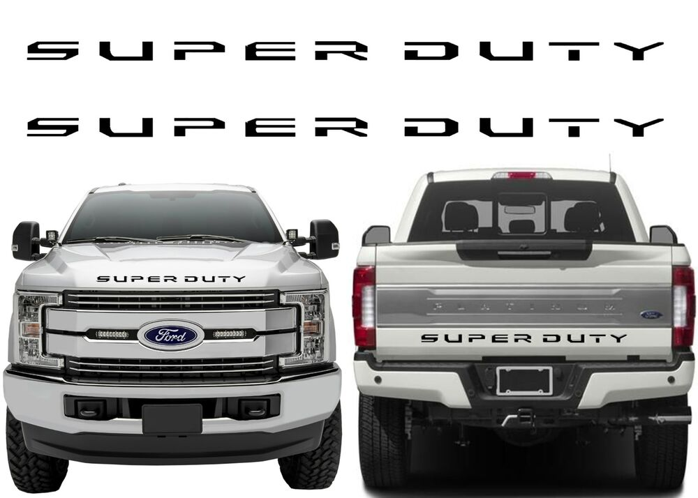 Front Amp Rear Black Super Duty Tailgate Letters For 2017 F 250 F 350 F