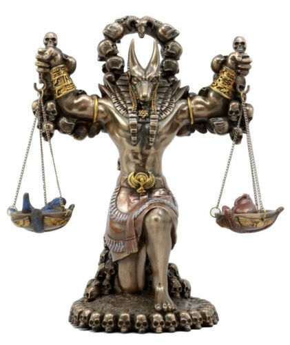 Egyptian God Anubis With Ankh Altar Weighing Heart And ...