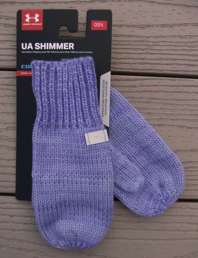 UNDER ARMOUR ColdGear Shimmer Knit Youth Girls Mittens OSFM NEW Violet