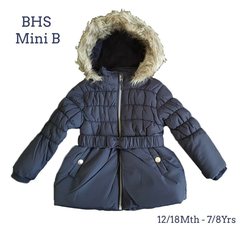 bhs girls coat jacket winter baby quilted hooded rain warm. Black Bedroom Furniture Sets. Home Design Ideas