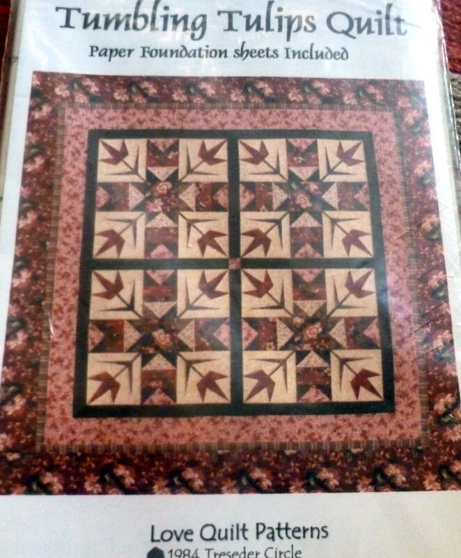 Love Quilt Tumbling Tulips Quilt Pattern Foundation Paper Piecing Ebay