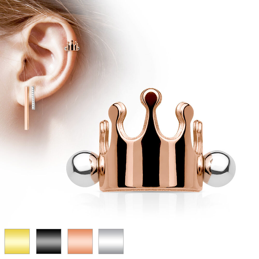 Helix piercing ebay crown surgical steel ear cartilage piercing helix cuff shield barbell stud ring pooptronica Choice Image