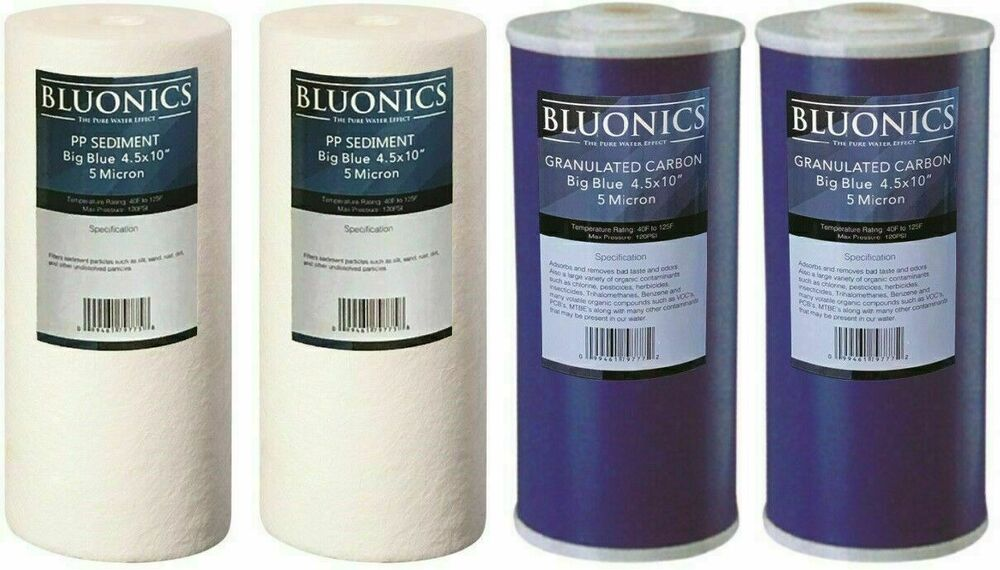 4 5 x 10 big blue water filters gac carbon sediment 4 whole house cartridges ebay for Water softener for 4 bedroom house