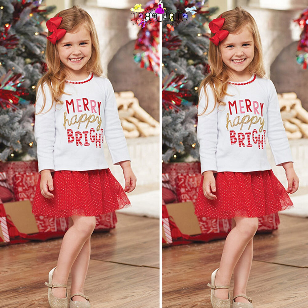 Details about Toddler Kids Baby Girl Christmas T Shirt Tops Princess Skirt Dress  Outfits Set bdff1ff21