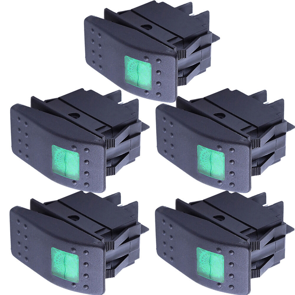 5pcs 12v green led on off rocker 4pin waterproof toggle switch car