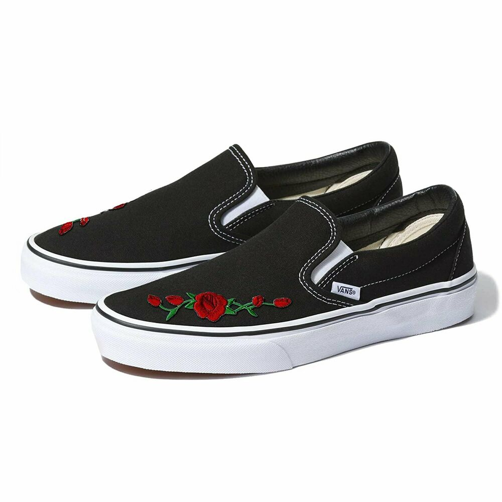 03e36aef216 Details about Black Vans Slip-On Red Rose Custom Shoes Embroidery