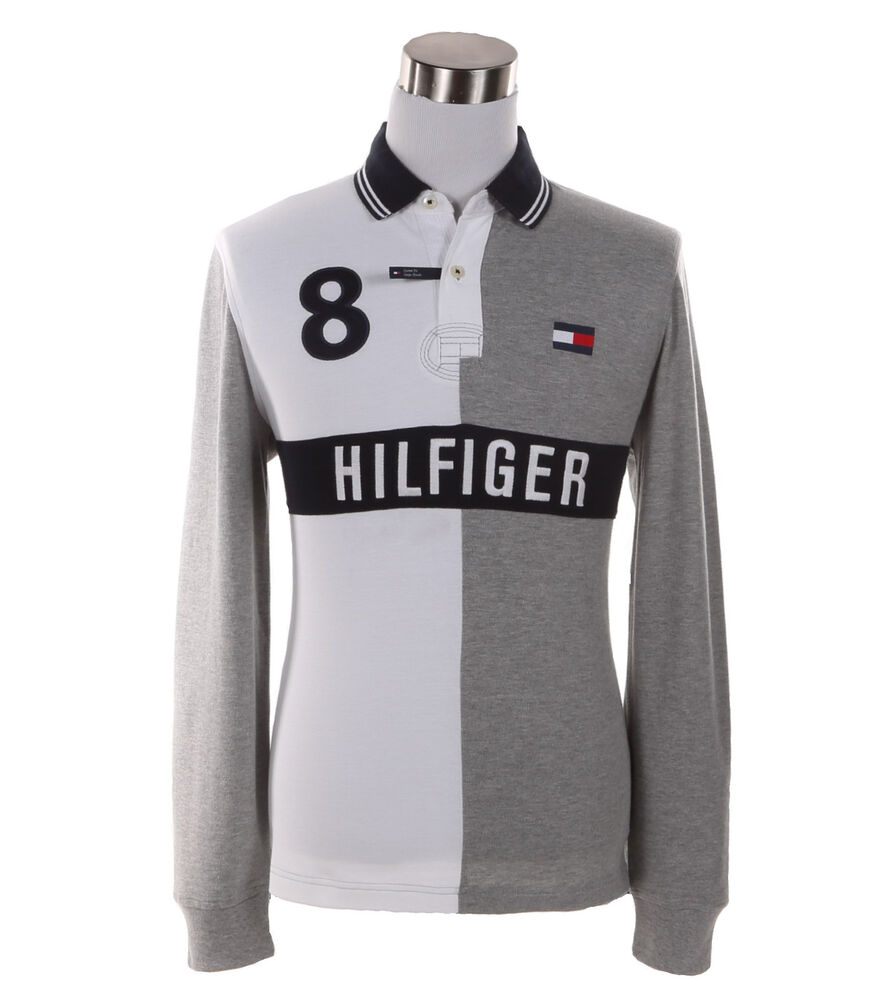 Tommy Hilfiger Mens Long Sleeve Logo Custom Fit Rugby Polo Shirt