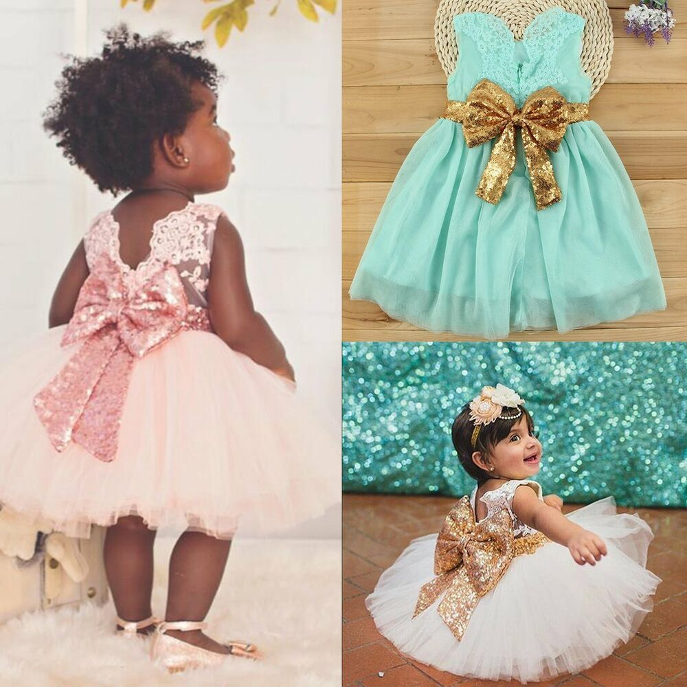 Flower Girl Sequin Bow Tutu Dress Toddler Baby Princess Party ...