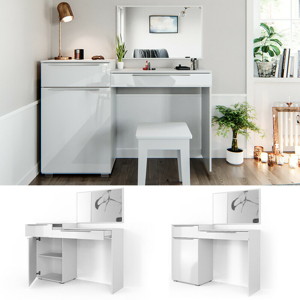 vicco schminktisch little lilli wei hochglanz frisiertisch kommode spiegel 4251421916456 ebay. Black Bedroom Furniture Sets. Home Design Ideas