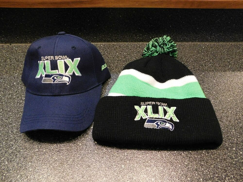 2 Hats Seattle Seahawks 2015 XLIX Super Bowl hats Stocking   Ball cap         R1  26be92961