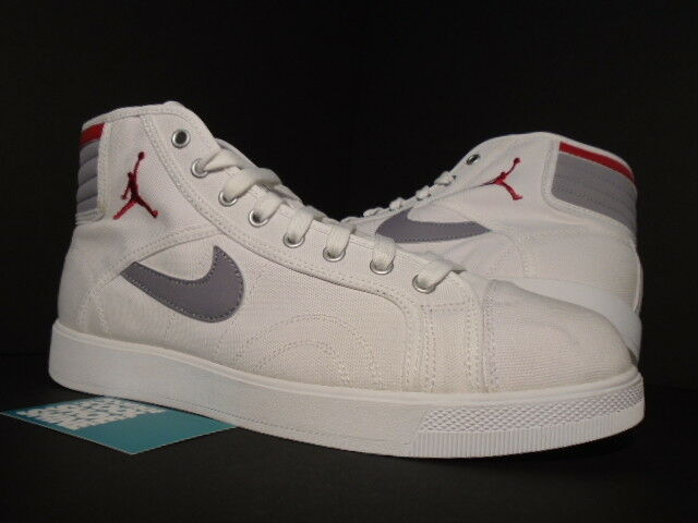 buy popular 5e546 0e1f2 Details about 2010 Nike Air Jordan SKY HIGH CANVAS 1 AJKO WHITE RED CEMENT  GREY 407282-101 12