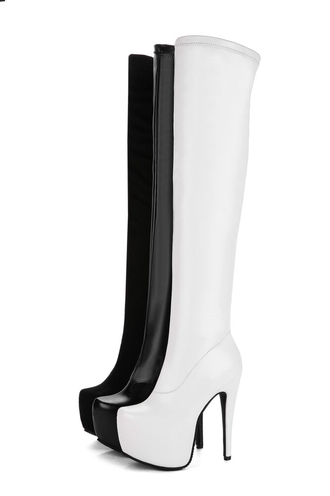 556926c0737 Details about Womens Club Shoes Synthetic Leather High Heels Zip Over Knee  Boots US Size b029
