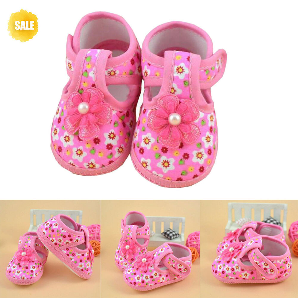 63933b315 Details about Newborn Baby Girl Pink Soft Cloth Flower Crib Shoes Bow  Anti-Slip Prewalker Shoe