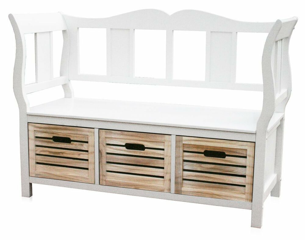 kmh sitzbank wei truhenbank bank garderobenbank holzbank k chenbank holz k rbe ebay. Black Bedroom Furniture Sets. Home Design Ideas