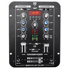 Rockville RDJ3BT 2 Channel DJ Mixer with USB, Bluetooth, Talkover, 4 Line Inputs