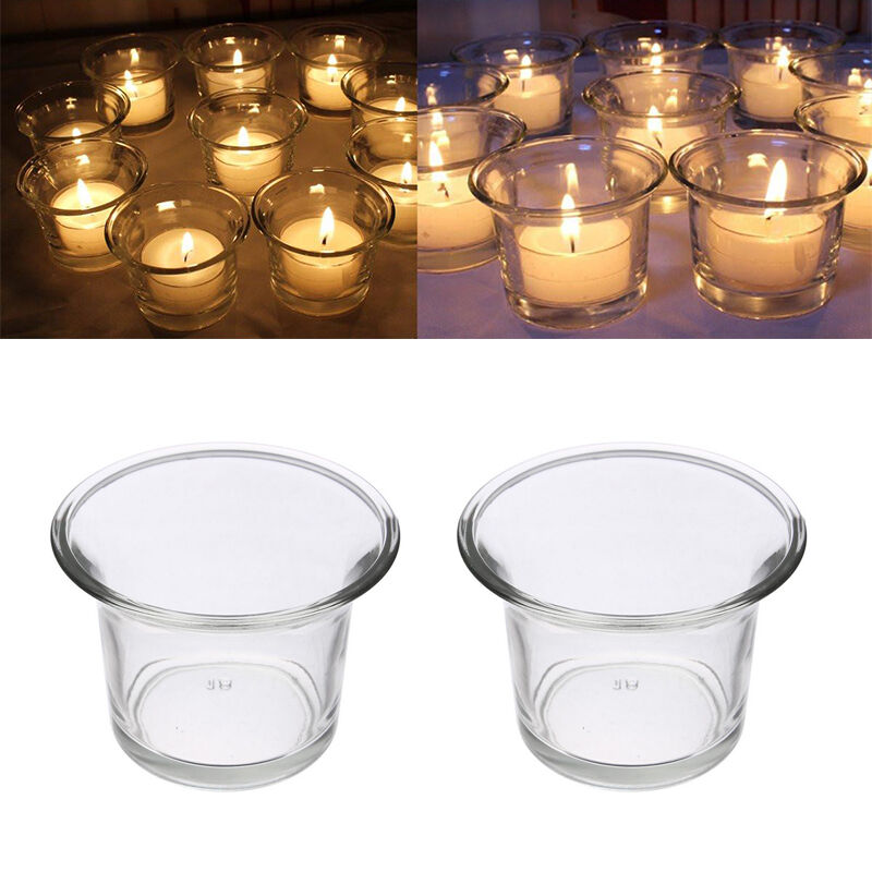 beautiful clear glass tea light votive candle holders wedding table gift pop ebay. Black Bedroom Furniture Sets. Home Design Ideas