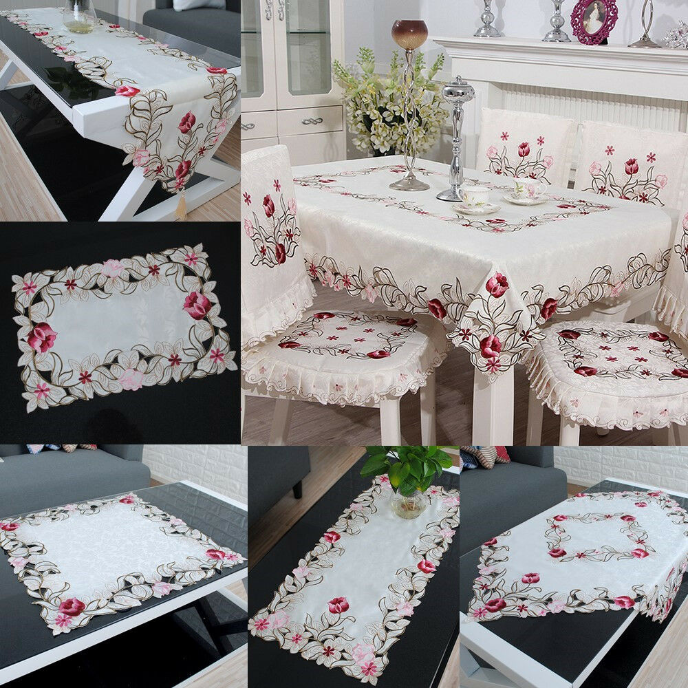 embroidered tablecloth flower hollow coffee table cloth. Black Bedroom Furniture Sets. Home Design Ideas