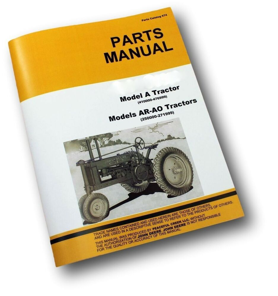 PARTS MANUAL FOR JOHN DEERE A AR AO AN AW ANH SERIES UNSTYLED TRACTOR  CATALOG   eBay