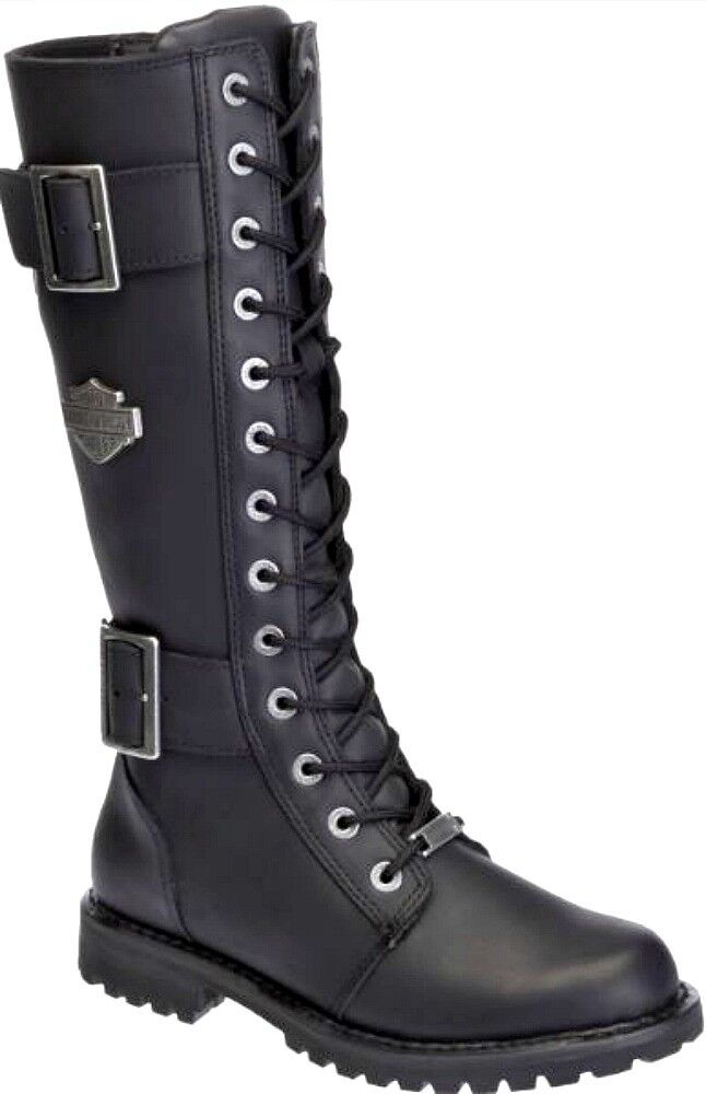 Harley-Davidson Womens Tall Belhaven Black Leather Motorcycle Boots -5580