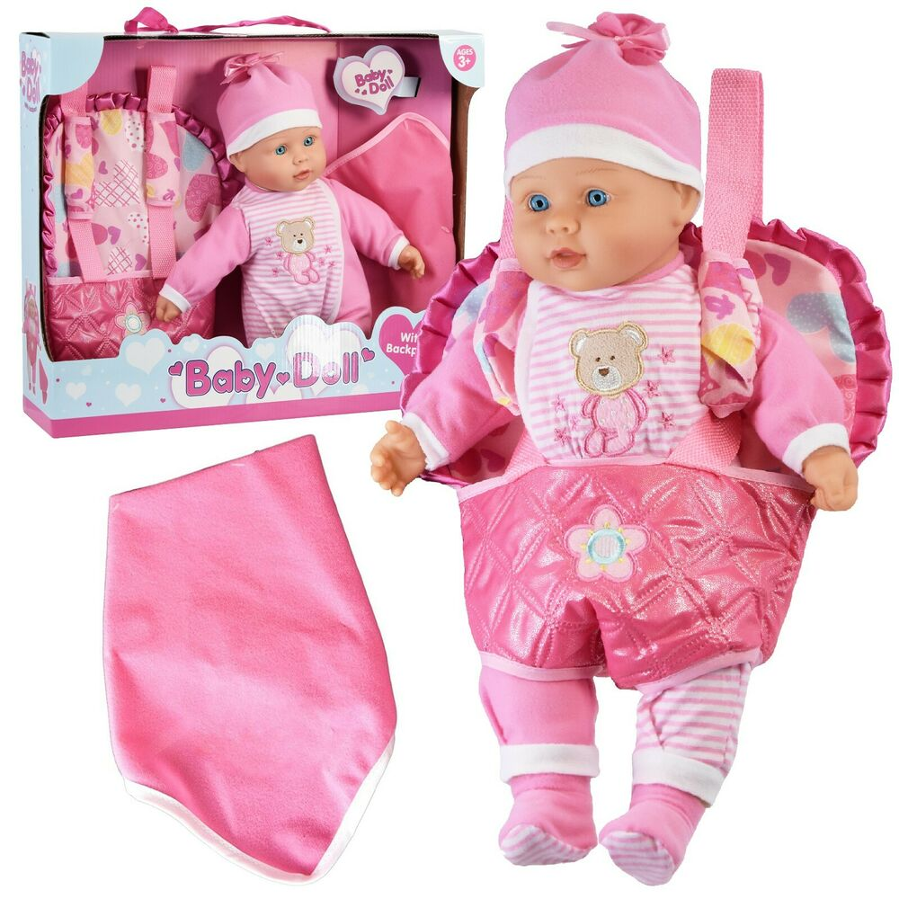 Baby Doll With Doll Carrier Backpack Carry Bag And Baby