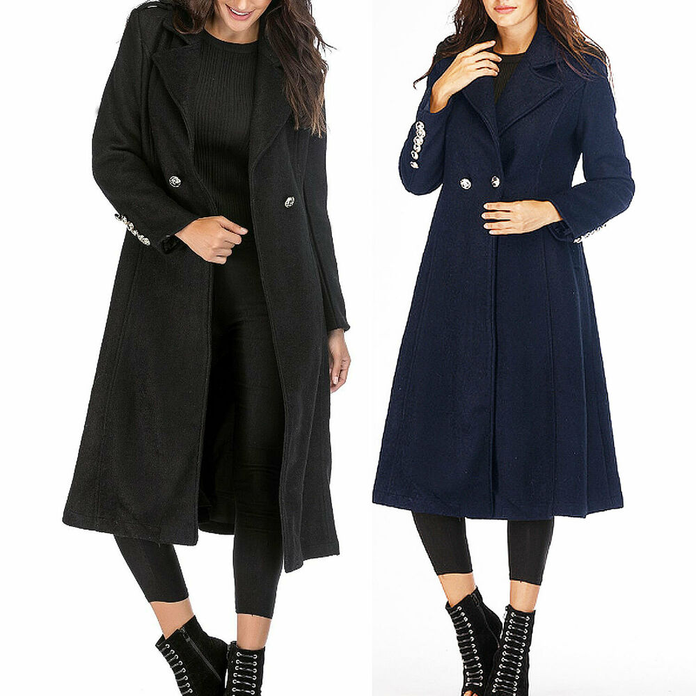 00a909040db Details about trench Coat womens winter calf length Cardigan Wool Coats  maxi Long Jacket Size