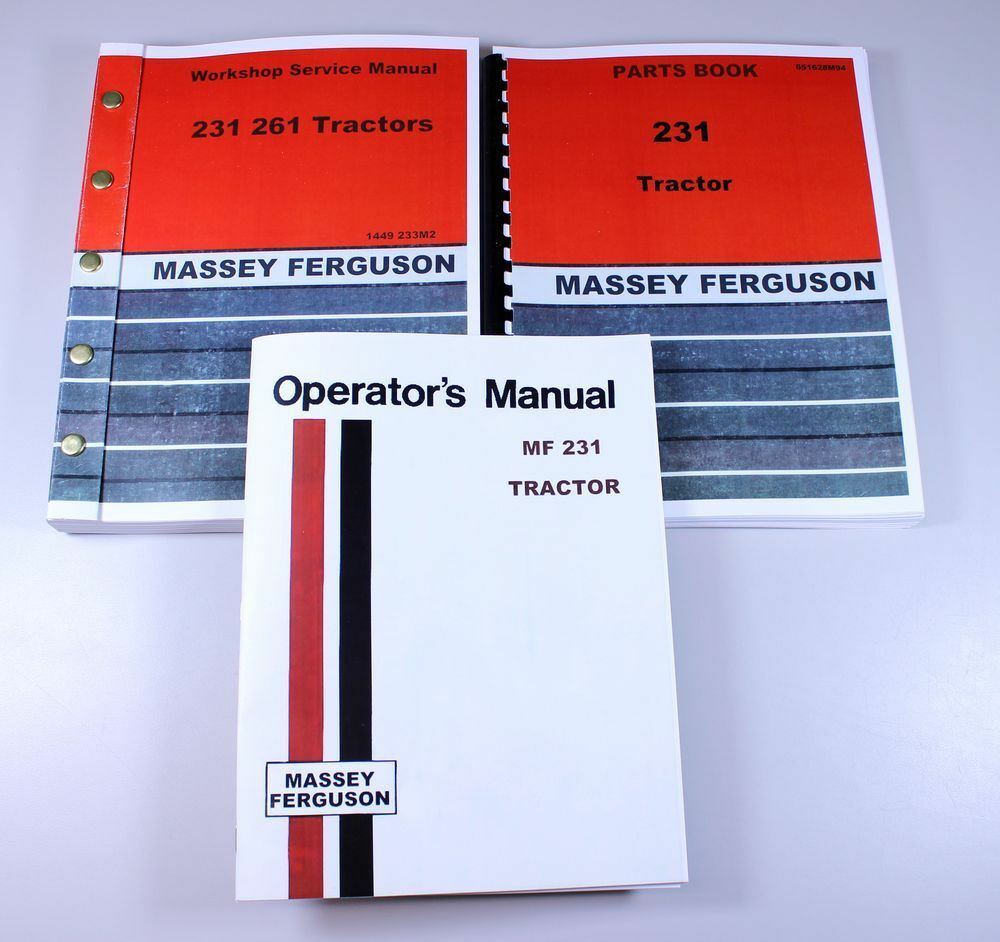 MASSEY FERGUSON 231 TRACTOR SERVICE OPERATORS PARTS MANUAL CATALOG OVERHAUL  SET | eBay