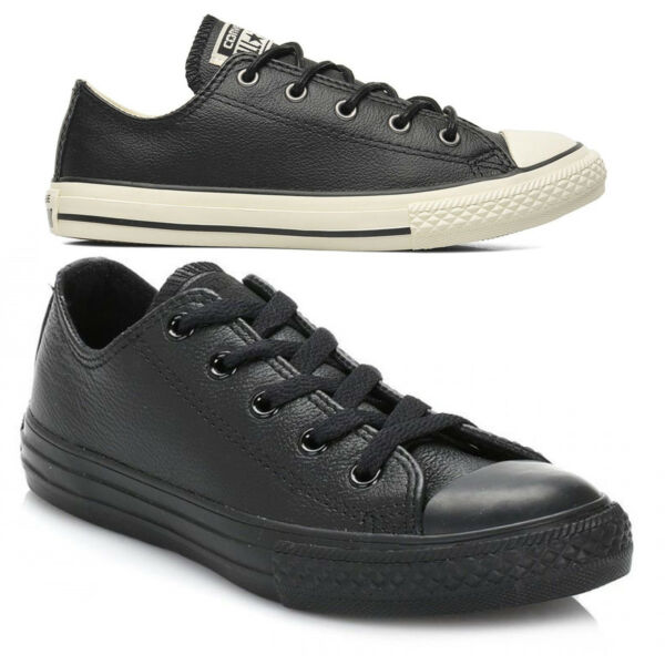 Converse Leather Shoes Ladies Womens Kids Juniors Boys Girls Trainer All Sizes