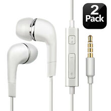 2pcs Genuine Samsung Handsfree Wired Headphones Earphones Earbud with Mic-White
