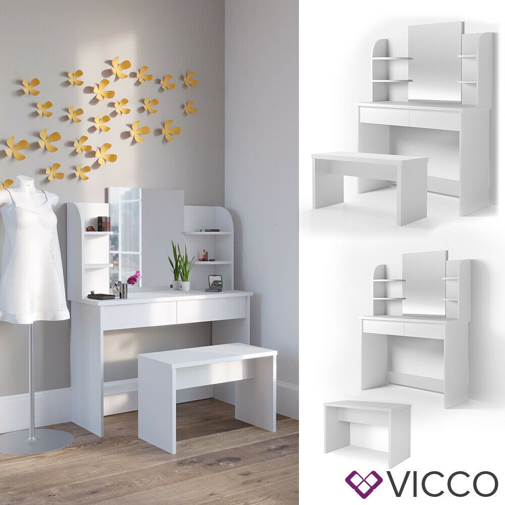 vicco schminktisch charlotte 142x108cm wei frisiertisch kommode spiegel bank ebay. Black Bedroom Furniture Sets. Home Design Ideas