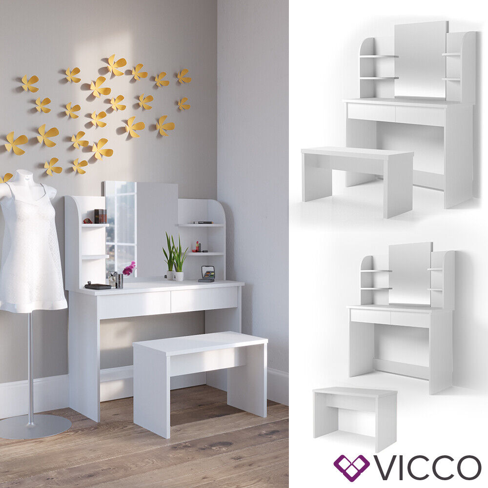 vicco schminktisch charlotte 142x108cm wei frisiertisch. Black Bedroom Furniture Sets. Home Design Ideas