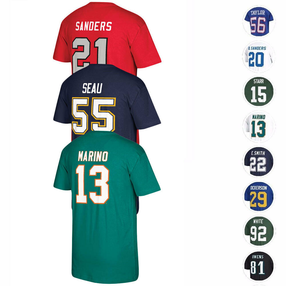 0cd6c43f9a3 Details about NFL Mitchell   Ness Retired Player Name   Number Jersey T- Shirt Collection Men s