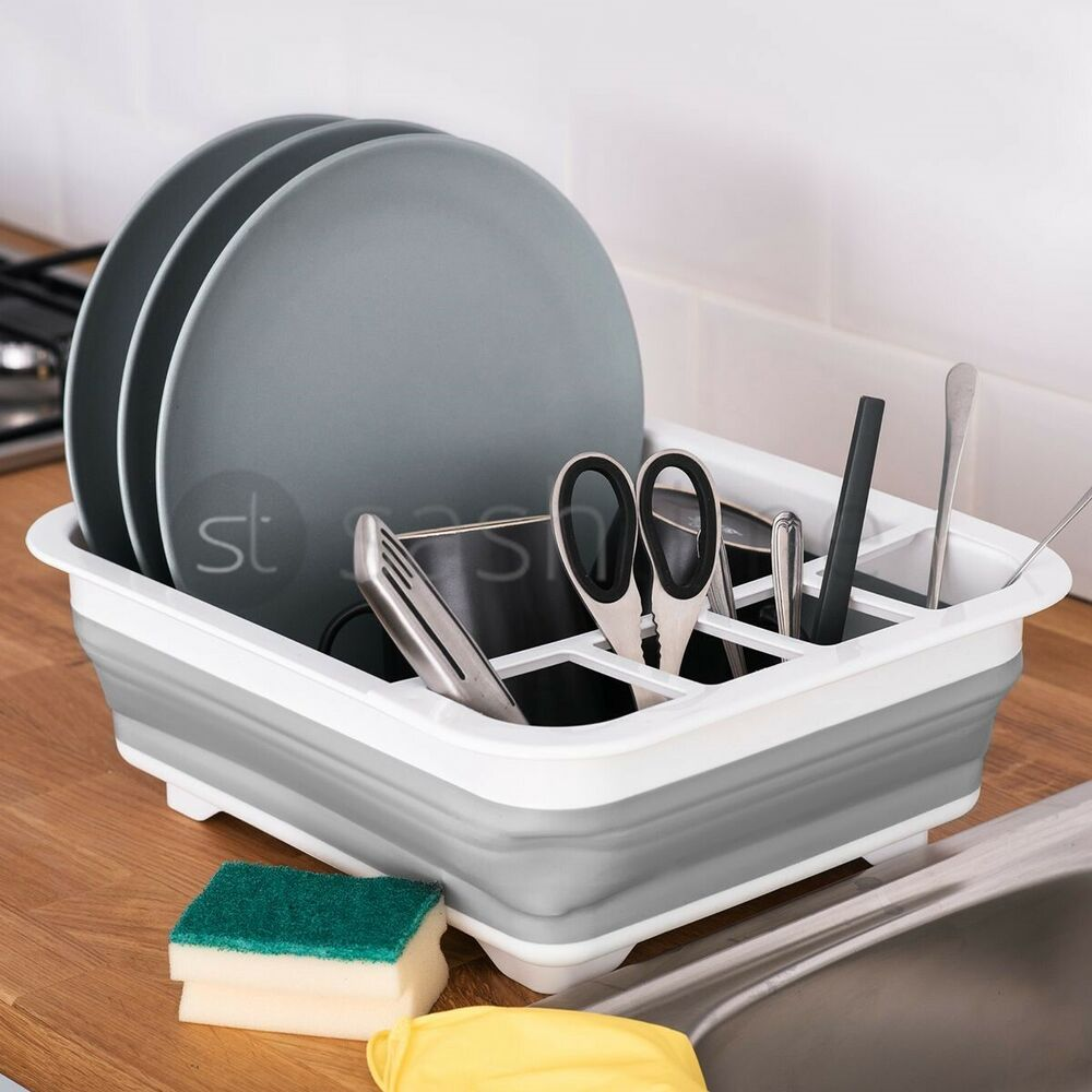 collapsible dish drainer large folding dish draining board plates cutlery rack 5017403105251 ebay. Black Bedroom Furniture Sets. Home Design Ideas
