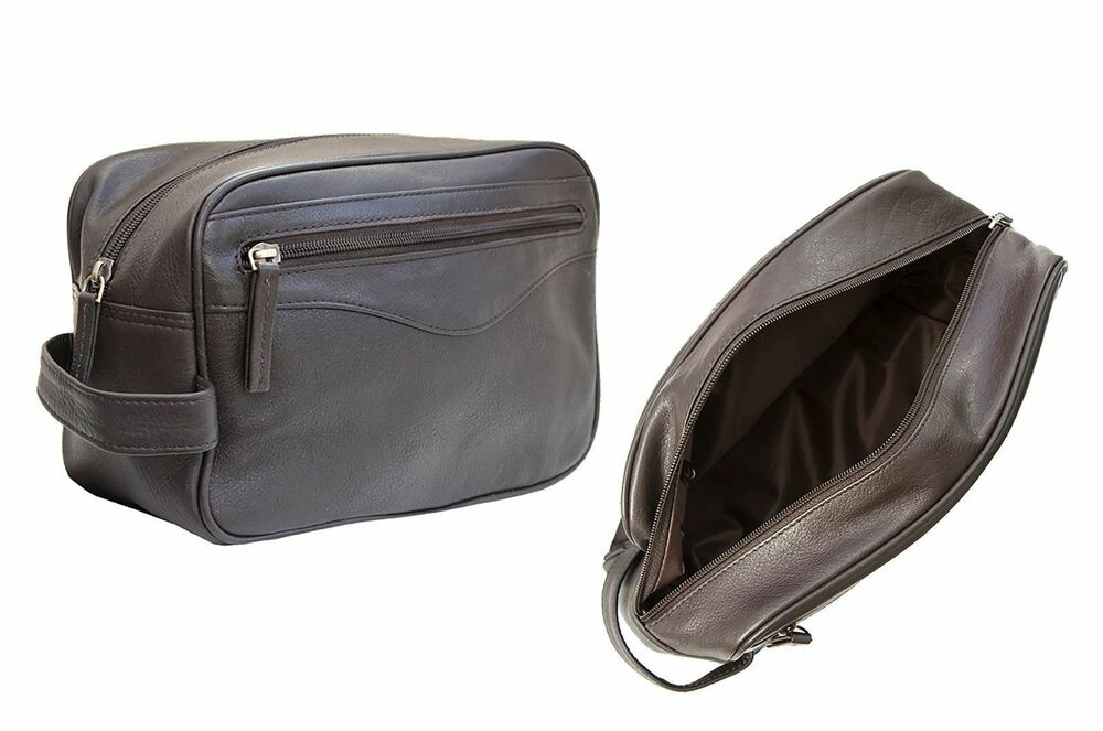 Details about Prime Hide Soft Brown Leather Toiltery Wash bag brown washbag  NEW 1a3274f2fac30