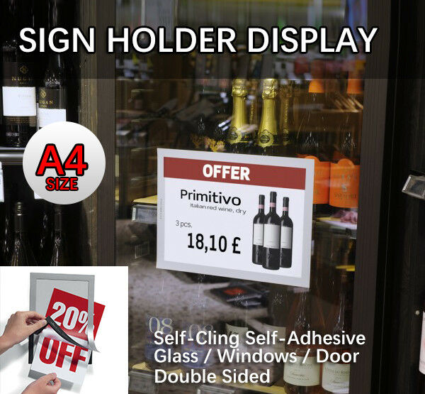 A4 Sign Holder Windows Display Poster Glass Door Double Sided Adhesive Magnetic