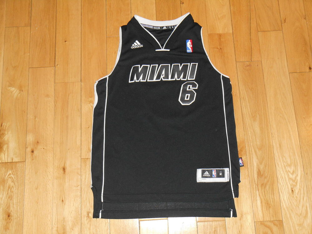ef7d7ca01a0 adidas LEBRON JAMES Black Alternate MIAMI HEAT Youth NBA Team Swingman  JERSEY Md