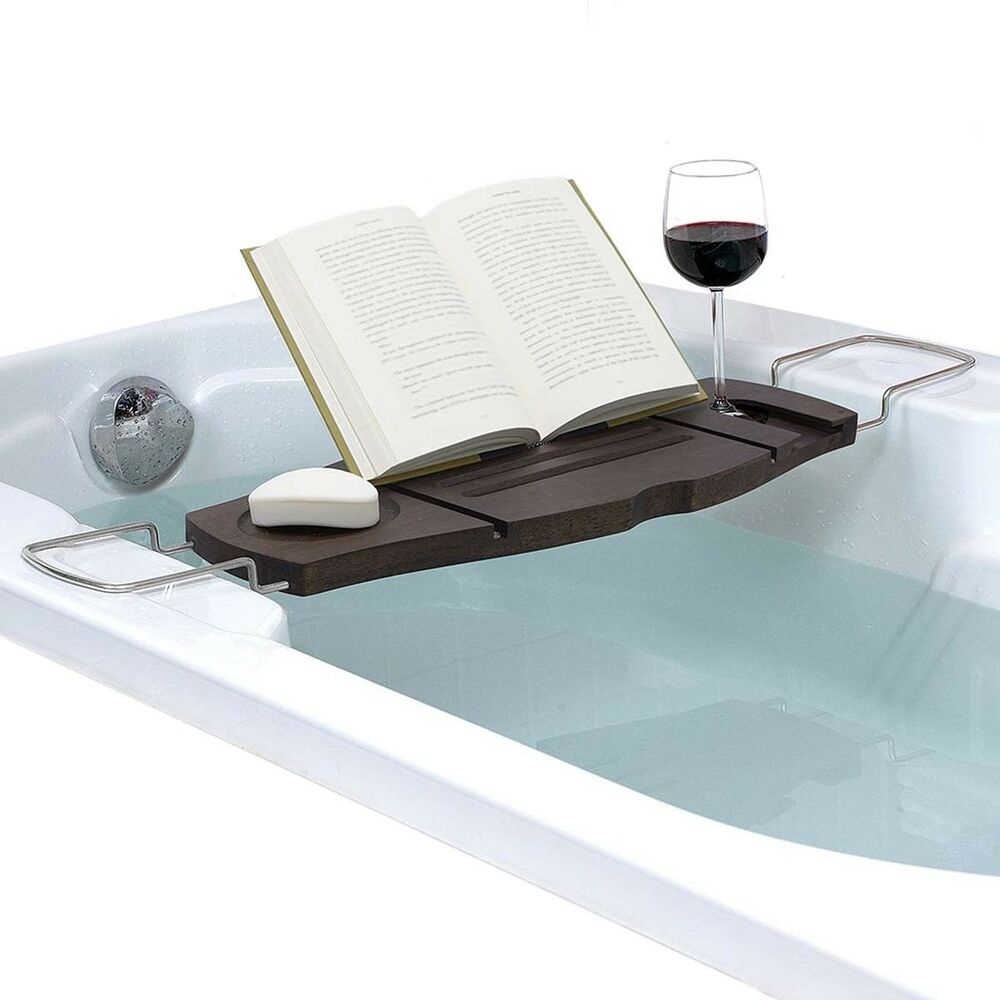 Aquala Bathtub Caddy Walnut Finish Bamboo Adjustable Tray Soap Wine ...