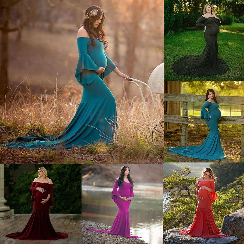 553e5b5695a8c Details about Pregnant Women Bell-Sleeve Maternity Dress Mermaid Long Gown  Photography Props