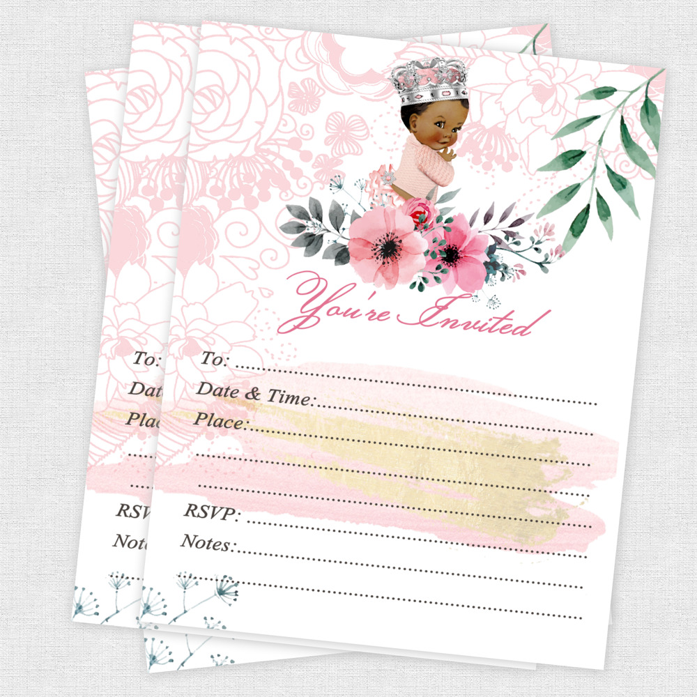 Details About Baby Shower Invitation Girl Princess Birthday 1st First Tutu