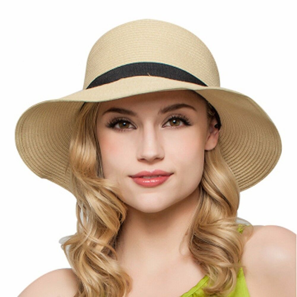 ab04b4ac4d2ff Details about Womens Sun Hat Foldable Large Wide Brim Straw Hat Summer  Beach Cap UV Protection