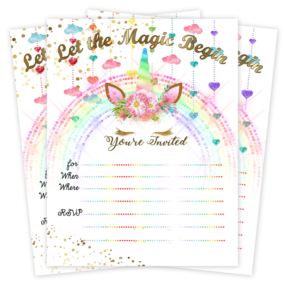 Unicorn Invitations Birthday Party Decoration Cards Gold Invites Set