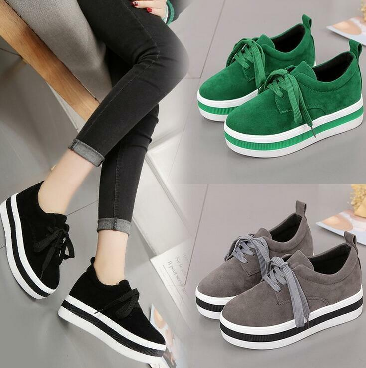 New Womens Lace Up Round Toe Platform Sneakers Casual Creepers Sport Shoes I819