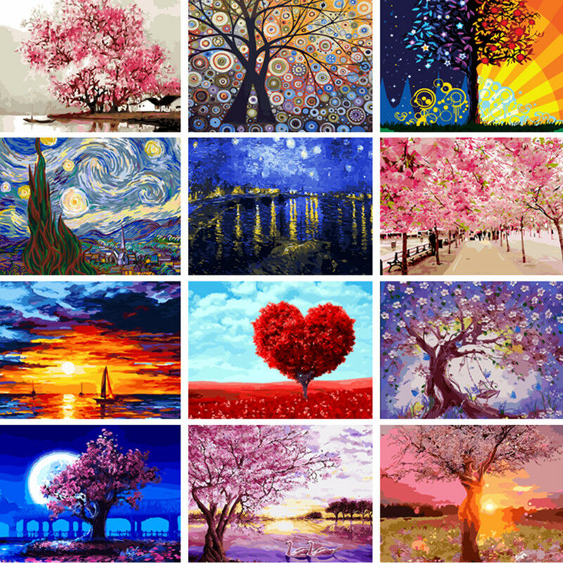 DIY Street Scenery Acrylic Paint By Number Kit Oil ...