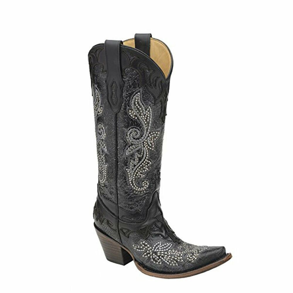 Women's Black Cowhide Studded Crystal Snip Toe Cowgirl Boots C2864
